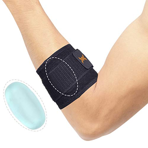 Thx4COPPER Infused Adjustable Compression Tennis and Golfers Elbow Support Brace, with Pad for Muscle and Joint Pain Relief, Tendinitis, Carpal Tunnel Syndrome … (Large)