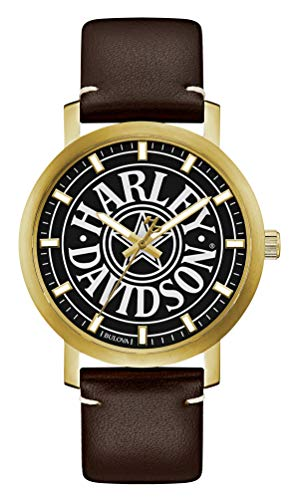 Harley-Davidson Men's Iconic Fat Boy Gold-Tone Stainless Steel Watch 77A100
