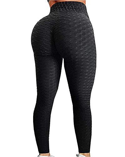 YOFIT Women Ruched Butt Yoga Pants Lifting Leggings High Waisted with Pockets Sport Tummy Control Gym Black L
