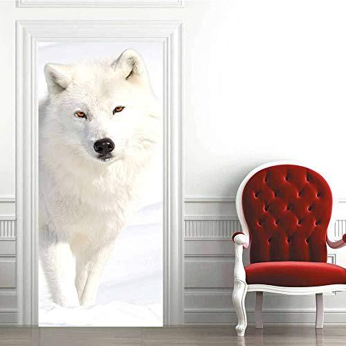 LLWYH Türaufkleber Türtapete 3D Snow Wolf Kreativ Wasserdicht Selbstklebend Wandbild Türfolie Türposter Fototapete 95 x 215 cm