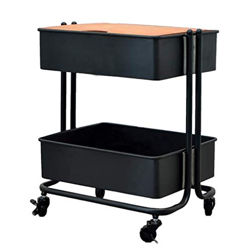 PAKUES-QO Small Cart Mobile Coffee Table Wrought Iron Sofa Side Table Side Cabinet Bedside Table