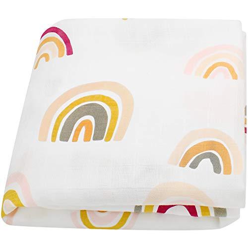 LifeTree Baby Pucktücher, Babydecke Musselin Swaddle Puckdecken | XL Größe 120x120 cm Babydecken Bambus Baumwolle | Mullwindeln für Junge und Mädchen
