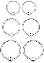 3 Pairs Sterling Silver Small Hoop Earrings Set 14K White Gold Plated Ball Bead Hoop Cartilage Earrings Helix Tragus Lip Nose Body Piercing for Women Men Girls, 8mm 10mm 12mm