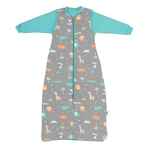 Schlummersack Saco de dormir infantil para todo el año, forrado en 2,5 tog, con mangas extraíbles, diseño de safari, 130 cm, 3-6 años