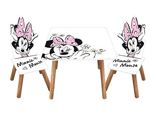 Familie24 3tlg. Micky Maus o. Minnie Maus Holz - Kindersitzgruppe Tisch + 2X Stuhl Sitzgruppe Kindertisch Maltisch Sitzgruppe Kindertisch Mickey Maus Minnie Mouse (Minnie Maus)