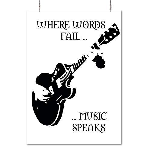 HAPPY FREAKS Poster 'Gitarre' weiß DIN A2 - Plakat ohne Rahmen - Bilder und Dekoration