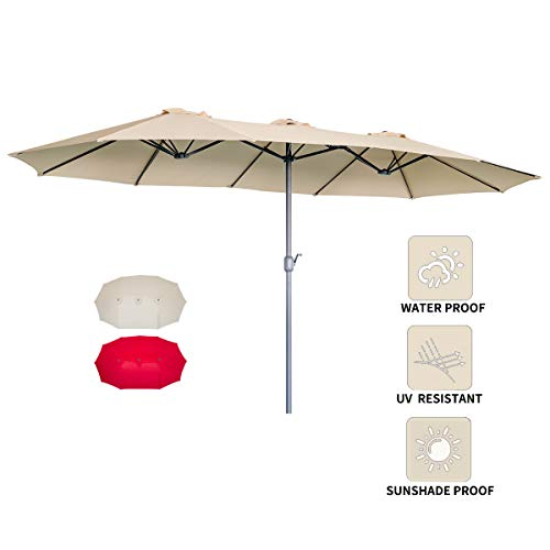 AECOJOY 15x9ft Double-Sided Patio Umbrella Outdoor Market Umbrella Large Sunbrella Table Umbrellas with Crank Air Vents for Deck Pool Patio (Beige)