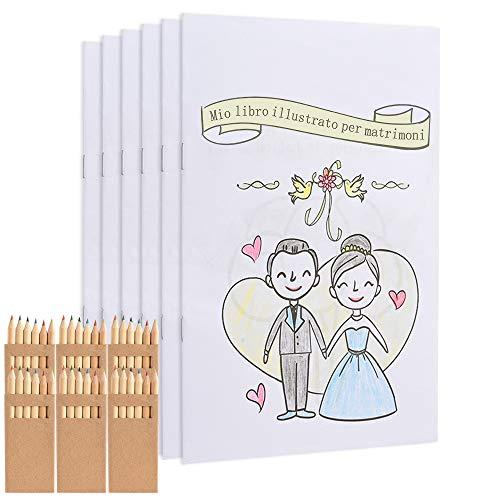 GOLDGE Libro da Colorare per Il Matrimonio, 6 Libri con Disegni e 6 Set di Matite Colorate, A5 Quaderno per Disegnare e Colorare, con 26 Immagini e en