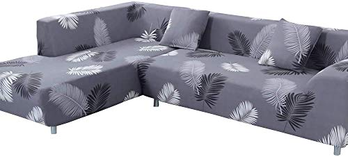 ele ELEOPTION Sofa Überwürfe elastische Stretch Sofa Bezug 2er Set 3 Sitzer für L Form Sofa inkl. 2 Stücke Kissenbezug (Schwarz Feder)