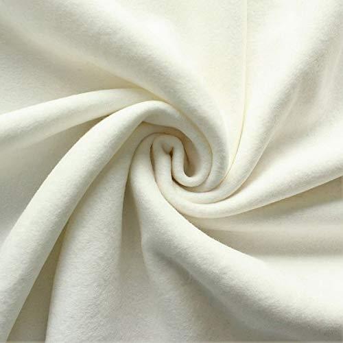 STOFFKONTOR Baumwolle Fleece Stoff Season Classic - Öko-Tex Standard 100 - Meterware, Ecru - zum Nähen von Bekleidung, Decken, Dekoration, zum Basteln UVM.