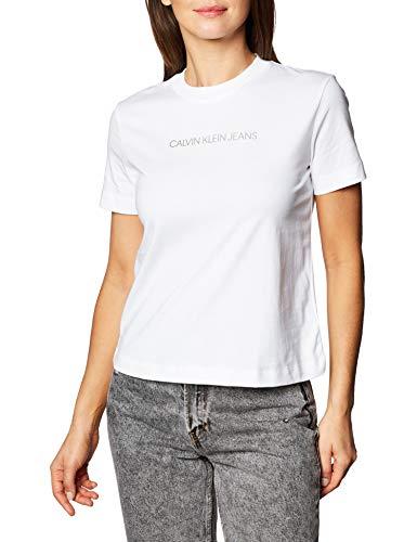 Calvin Klein Jeans Shrunken Inst Modern SS Tee Chemise, Bright White, XS Femme