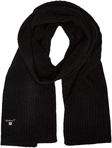 GANT Herren O2. Wool Knit Scarf Schal, Schwarz (Black), One size