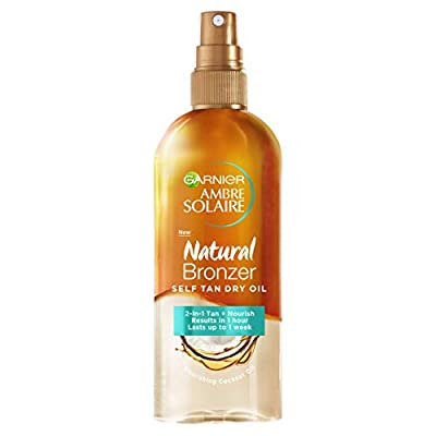 Garnier Ambre Solaire Natural Bronzer Self Tan Dry Oil, Bi-phase Self-Tan Enriched with Coconut Oil for Luminous & Hydrated Tanned Skin 150 ml
