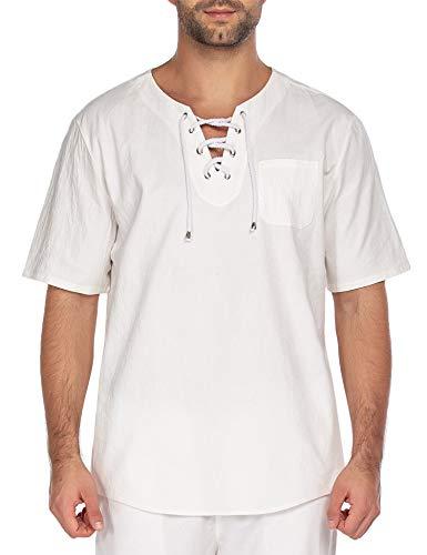 JINIDU Camiseta de manga corta para hombre, de algodón y lino, estilo hippy, con cuello en V Manga corta, color blanco. XL