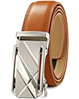 Men's Belt Ratchet Dress Belt with Automatic Buckle Brown/Black-Trim to Fit-35mm wide-005-110-TAN
