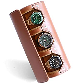 Besforu Watch Box Organizer for Mens Watch case Travel roll Portable 3 Watch Display Storage with Velvet Sections to Holder Large Watch  Light Brown