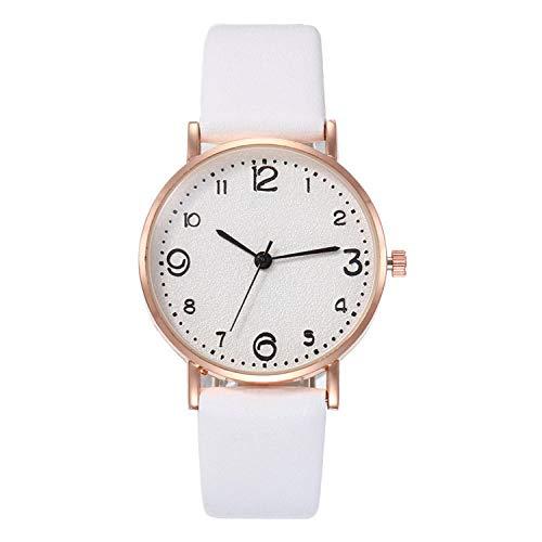 Powzz ornamento coreano casual moda señoras reloj simple correa digital reloj femenino-blanco