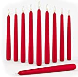 Set of 10 Red Dinner Taper Candles 10 Inch Unscented Tall Dripless Candlesticks Bulk for Wedding Restaurant Home Decoration Spa Church Smokeless Vegan