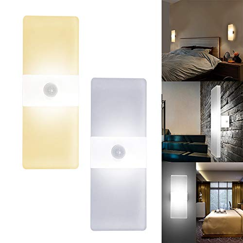 UISEBRT 12W LED Wandlampe Kaltweiß mit Bewegungssensor - Modern LED-Wandleuchten Sensor für Wohnzimmer Schlafzimmer Arbeitszimmer Hotel Flur (Kaltweiß)