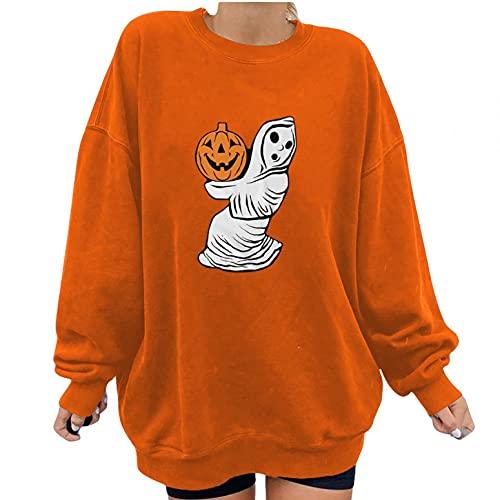 NHNKB Sudadera para mujer, de manga larga, para Halloween, de punto fino, para otoño e invierno, con estampado de espíritu de calabaza., naranja, L