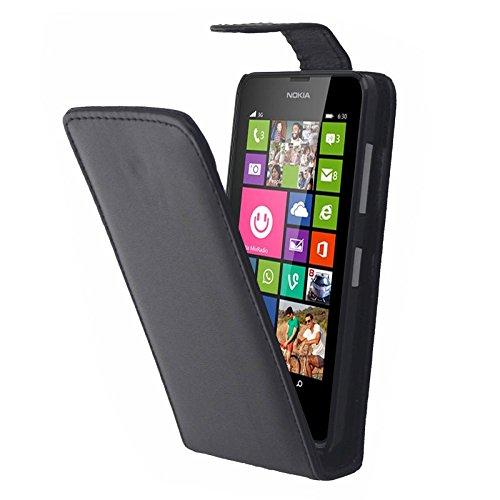 Zhouzl Custodie in Pelle per Cellulare Custodia in Pelle Flip Verticale for Nokia Lumia 630 (Nero) Custodie in Pelle Nokia