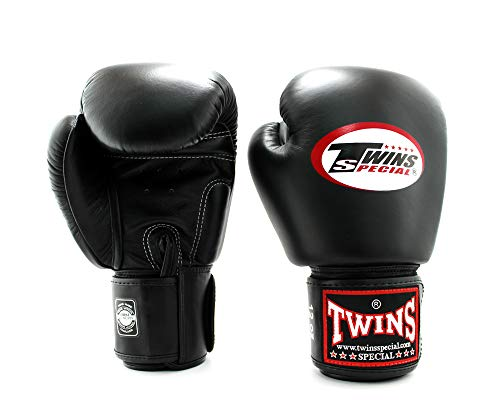 Twins Special Boxing Gloves Velcro (Black) (16 ounce)