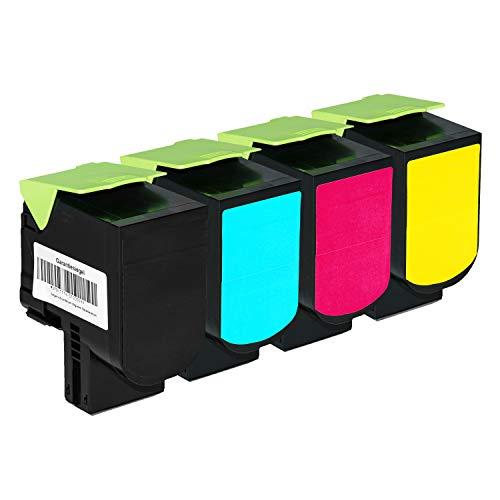 4 Toner kompatibel für Lexmark CS310 DN Series CS410 DTN Series - 70C0H10 70C0H20 70C0H30 70C0H40 - Schwarz 4.000 Seiten, Color je 3.000 Seiten