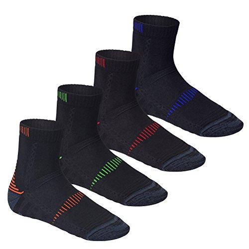 CFLEX Herren & Damen Laufsocken (4 Paar), Funktions Socke mit verstärkten Zonen, Vierfarb-Mix 35-38