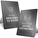 Social Distancing Sign, Face Mask Sign, Combo Pack (2 Signs) Countertop Signs with Fold Out Easel, 10x7 Inches, Rust Free .040 Aluminum, Indoor/Outdoor Use, Made in USA by SIGO SIGNS