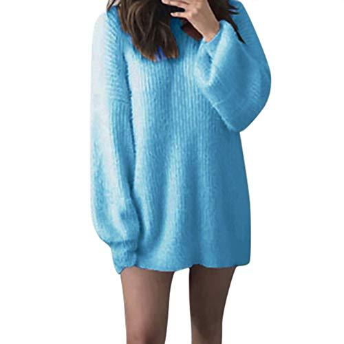 SANFASHION Chandail Longue Mohair Femme Pull Unie Col Ronde Lâche Blouse Tricoté Chaud Manche Chic Printemps Automne Hiver (Bleu,XL)