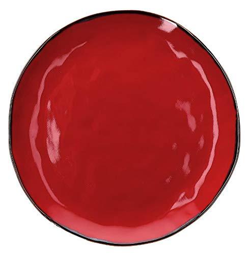 Concerto Rosso Fuoco Speiseteller 27 cm Rotes Feuer Teller italienisch Steinzeug Tafelservice Essteller Red mediterraner Italien Retro Stil