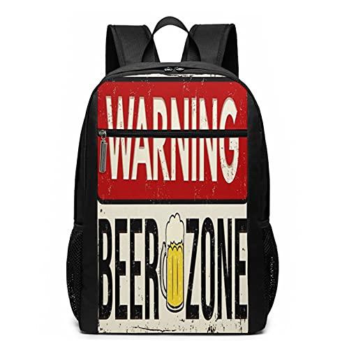 Mochila escolar de metal con advertencia de cerveza, bolsa de libros de negocios, viajes, mochila informal para hombres, mujeres, adolescentes y niñas