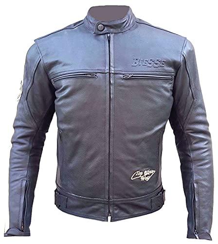 BI ESSE - Chaqueta de piel para moto Racing/Touring, estilo vintage, desenfundable, chaleco térmico extraíble, con protecciones Negro S