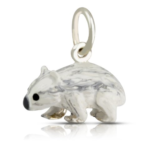 WithLoveSilver Solid Sterling Silver 925 Cute Enamel 3D Wombat Pendant by WithLoveSilver