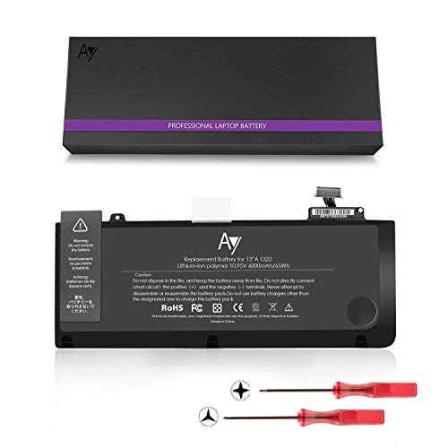 A1322 Battery [10.95V / 65WH], AY High-Performance Replacement Laptop Battery Compatible A1278 MacBook Pro 13' (2012 2011 2010 2009), Fits MC700LL/A MD101 MD102 by AY