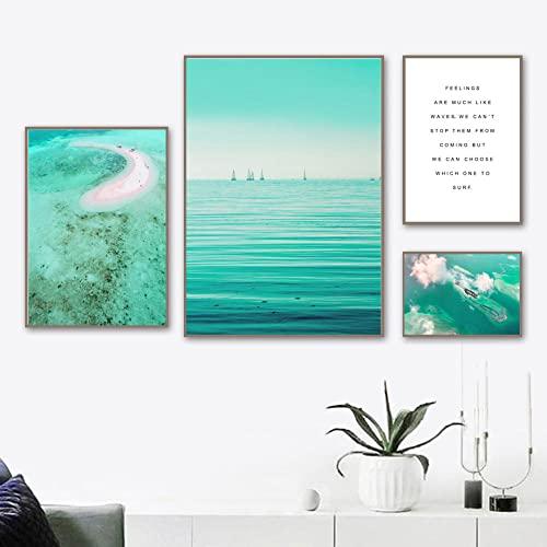 Ocean Beach Quote Poster Prints set Escandinavia Canvas Wall Art Pintura Cuadros de arte de pared modernos para la sala de estar Dormitorio Decoración del hogar Sin marco