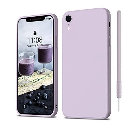 iPhone XR Hülle Silikon Case, ORDA Hanyhülle iPhone XR Ultra Dünn Slim mit Microfiber, Kratzfeste RundumschutzCase Schutzhülle Hülle für iPhone XR 6.1'' Lavendel Lila