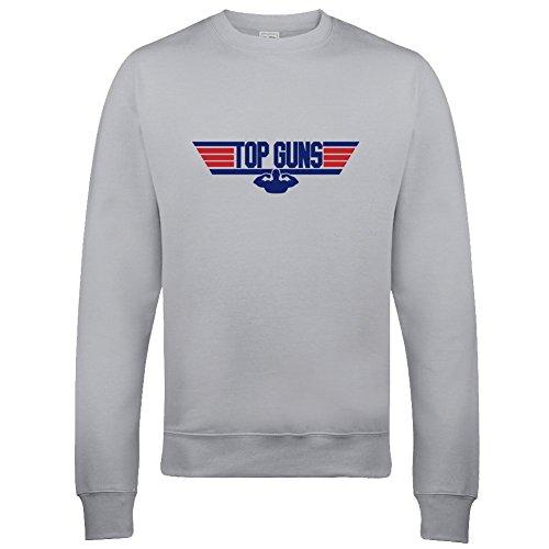 Men's Funny Top Guns Grey Sweatshirt, S to 2XL