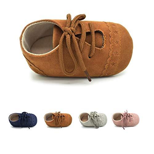 DEBAIJIA Zapatos de Bebé para 6-18 Meses Unisex Niños Niñas Primeros Pasos Pantuflas Infantiles Moda Casual Antideslizante Suave Suela Cordones Zapatos de Casa Zapatillas de Cuero