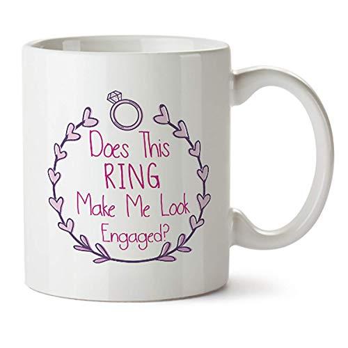shenhaimojing ¿Este Anillo Me Hace Parecer Comprometido? Taza De Café De Porcelana,11 Oz,Gran Regalo para Novio,Familia Y Amigos,Novedad De Compromiso,Taza De Compromiso