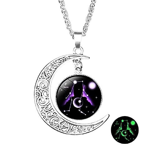 Constelaciones Collares,12 Géminis Signo del Zodiaco Colgante Luminoso Collar 12 Constelación Collares De Declaración para Mujeres Regalos De Fiesta De Boda