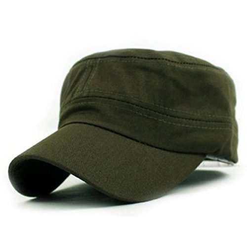 EKIMI Baseball Cap Plain Vintage Army Military Cadet Style Cotton Adjustable Cap Hat (Army Green)