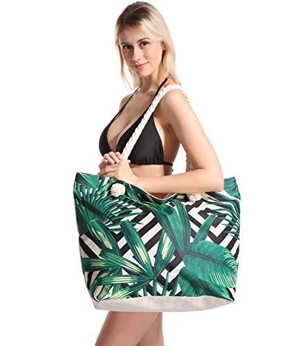 Strandtaschen Große XXL Familie mit Reißverschluss - Shopper Schultertasche...