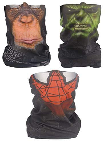 3 pcs 3D Face Sun Mask, Incredible Hulk+Spiderman+Monkey Neck Gaiter, Headwear, Magic Scarf, Balaclava, Running, Motorcycling, Great for Men & Women (3PCS)