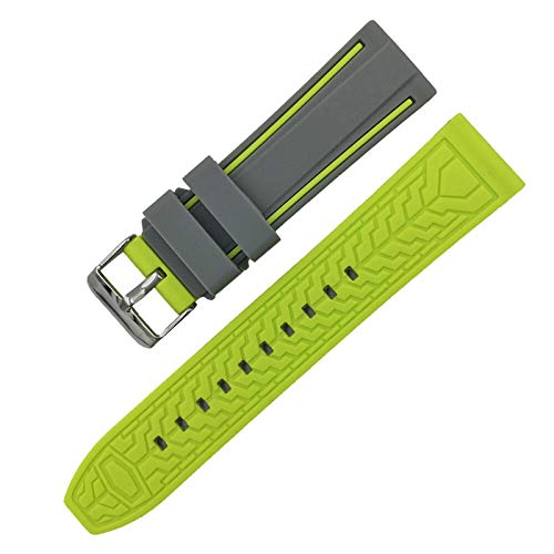 LGFCOK Silicona Soft Sport Wamkband 20mm 22mm 24mm 26mm Buceo de Goma Hombres Impermeables Reemplazo Pulsera Banda Correa Reloj Accesorios (Band Color : Gray Lime, Band Width : 20mm)