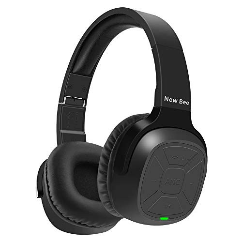 Active Noise Cancelling Wireless Headphones New Bee 70H Playtime ANC Wireless Headphones w/Mic Siri Voice Control Hi-Fi Stero Deep Bass for Travel Work TV Phone (Black)