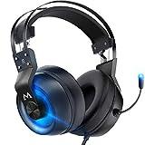 Mpow EG3 Pro - Auriculares de Diadema para Juegos con Sonido Envolvente 3D, PS4 Xbox One con micrófono de cancelación de Ruido, Auriculares de Chat para PC, Xbox 1, PS4, Nintendo Switch