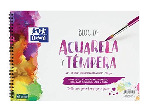 Oxford Bloc Acuarela y Témpera Escolar A4+ Tapa Blanda/Contratapa rígida, 10 Hojas de 300gr Lisas, Con Espiral