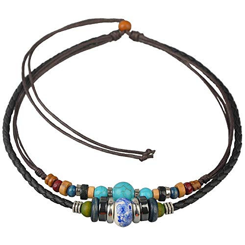 Ancient Tribe Adjustable Hemp Leather Cords Choker Necklace Turquoise Beads (Black)