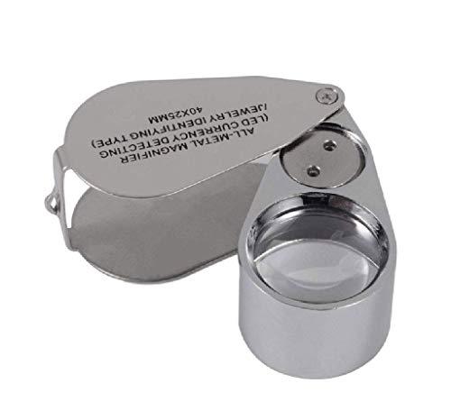 Lente d'ingrandimento per gioielli illuminata in metallo pieno vetro 40X, documento scientifico pieghevole XYK Gioiellieri per lente d'ingrandimento Lenti per occhiali Lente con lente a LED e luce U
